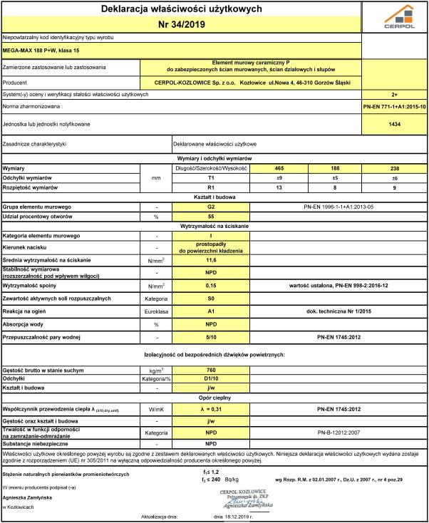 Deklaracja właściwości użytkowych Cerpol Mega-MAX 188