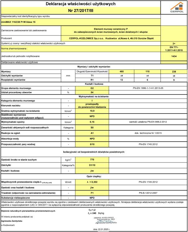 Deklaracja właściwości użytkowych Cerpol miniMax 115 P + W