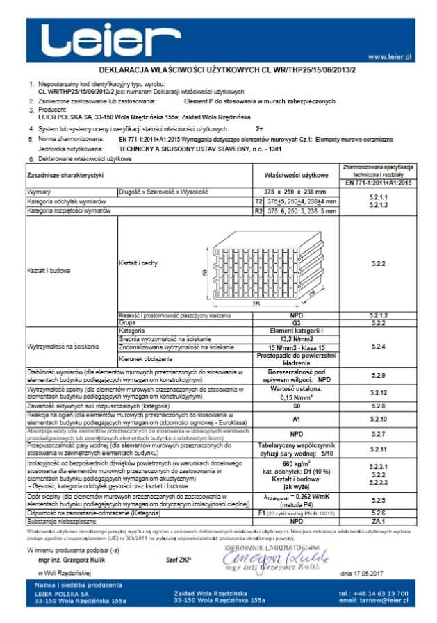 Deklaracja właściwości użytkowych Leier 25 P+W