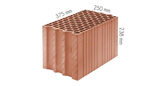 Pustak ceramiczny Thermopor 250 mm P+W wymiary