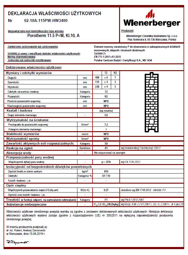 Deklaracja właściwości użytkowych Porotherm 11,5 P+W kl. 10 A