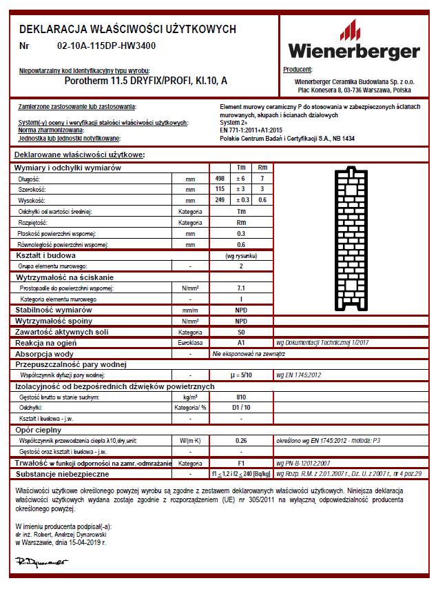 Deklaracja właściwości użytkowych Porotherm 11,5 Dryfix kl. 10 A