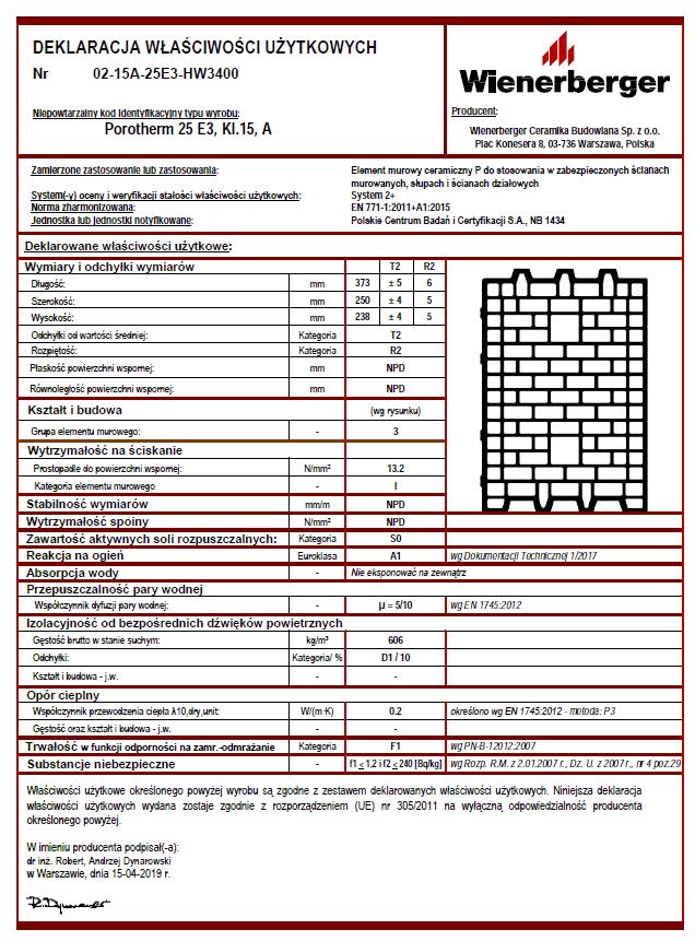 Deklaracja właściwości użytkowych Porotherm 25 E3 kl. 15 A