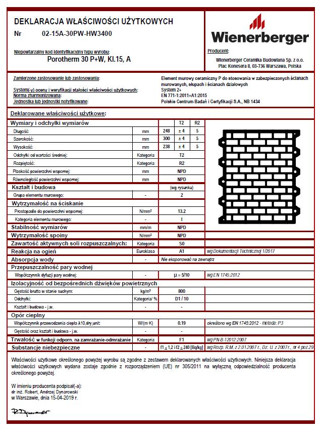 Deklaracja właściwości użytkowych Porotherm 30 P+W kl. 15 A