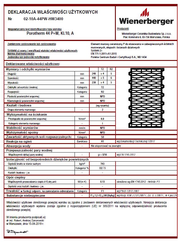 Deklaracja właściwości użytkowych Porotherm 44 P+W kl. 10 A