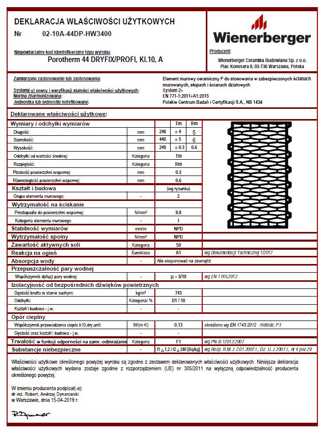 Deklaracja właściwości użytkowych Porotherm 44 Dryfix Profi kl. 10 A