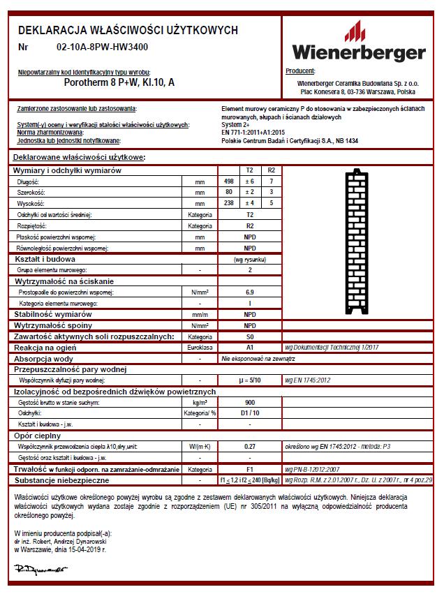 Deklaracja właściwości użytkowych Porotherm 8 P+W kl. 10 A